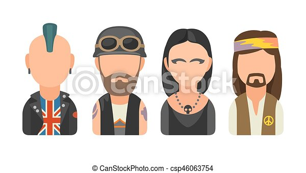 Set icon different subcultures people. Punk, biker, goth, hippy - csp46063754