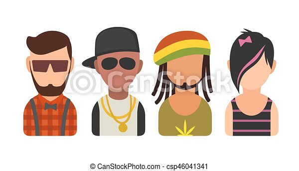 Set icon different subcultures people. Hipster, raper, emo, rastafarian. - csp46041341