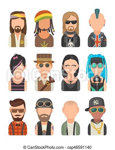 Set icon different subcultures people. Hipster, raper, emo, rastafarian, punk, biker, goth, hippy, metalhead, steampunk, skinhead, cybergoth. - csp46591140