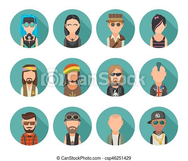 Set icon different subcultures people. Hipster, raper, emo, rastafarian, punk, biker, goth, hippy, metalhead, steampunk, skinhead, cybergoth. - csp46251429