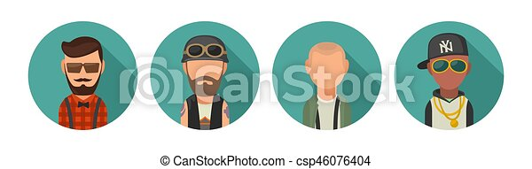 Set icon different subcultures people. Hipster, biker, skinhead, raper. - csp46076404