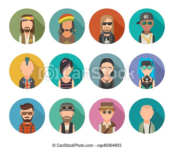 Set icon different subcultures people. Hipster, raper, emo, rastafarian, punk, biker, goth, hippy, metalhead, steampunk, skinhead, cybergoth. - csp46364903