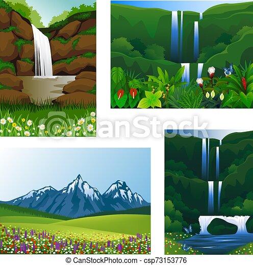 Set Icon frame scenery beautiful - csp73153776