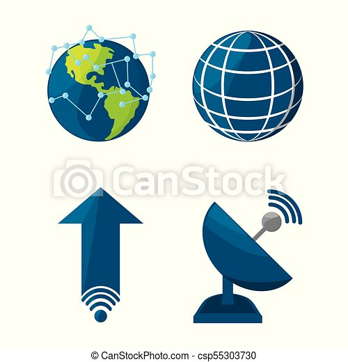 set icon related with internet - csp55303730