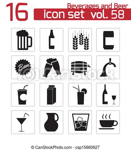 set, icone, birra, vettore, nero, bevanda - csp15660627