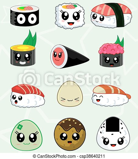set, icone, cibo, sushi, giapponese, vettore , csp38640211