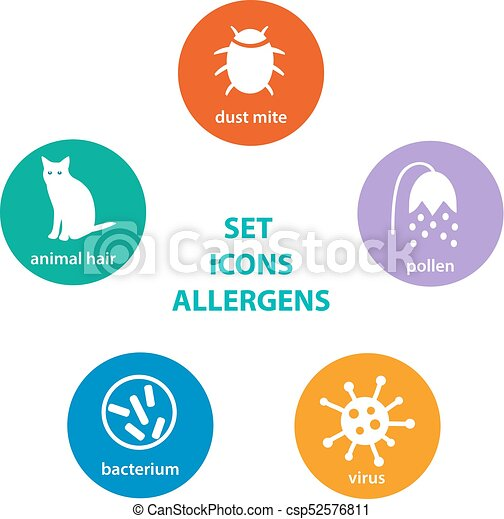 set icons allergen group of allergens in the round colored rh canstockphoto co uk clipart construction clip art icons and symbols