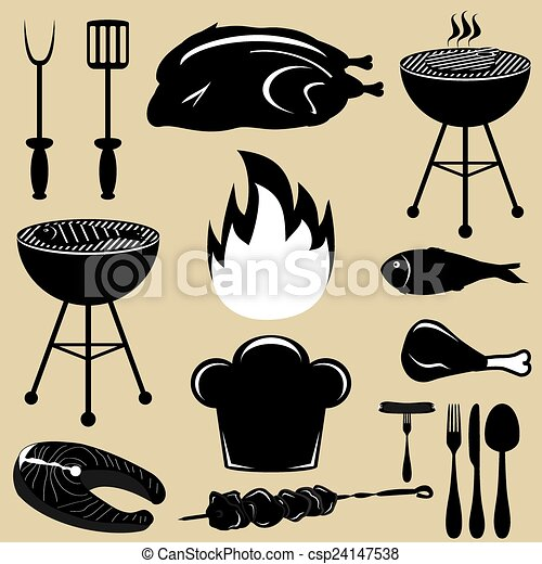 Set icons barbecue grill  - csp24147538