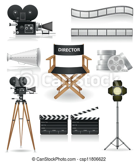 set icons cinematography cinema - csp11806622