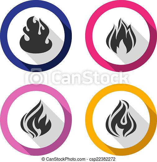 Set icons fire flames - csp22382272