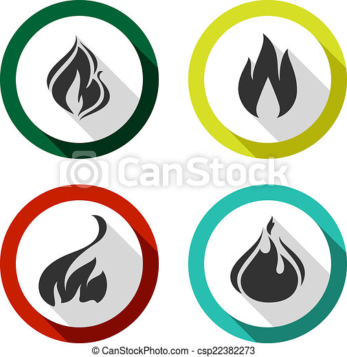 Set icons fire flames - csp22382273