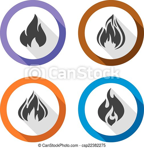 Set icons fire flames - csp22382275