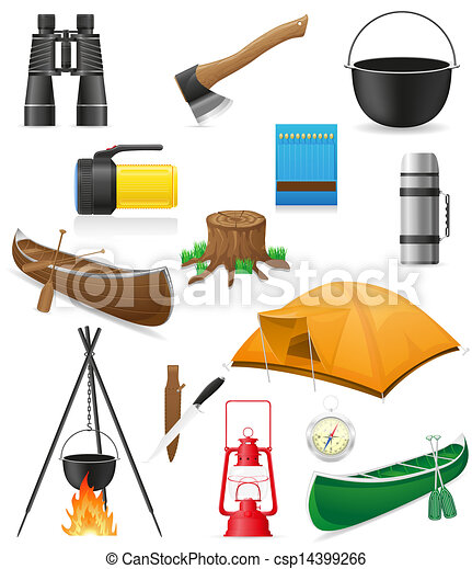 set icons items for outdoor recreation illustration - csp14399266
