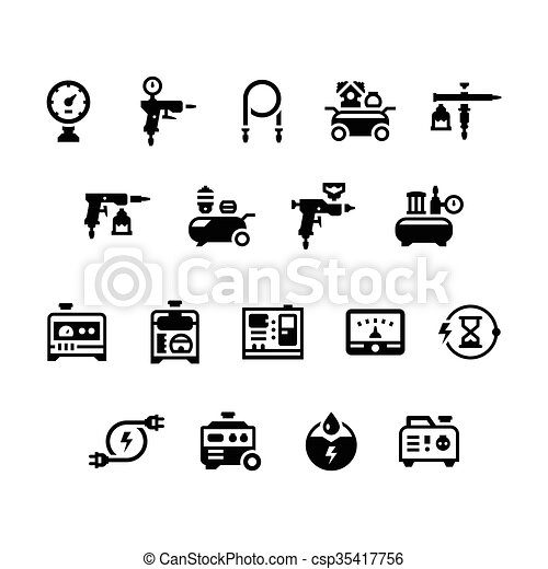 Set icons of electric generator and air compressor - csp35417756