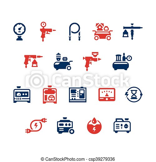 Set icons of electric generator and air compressor - csp39279336