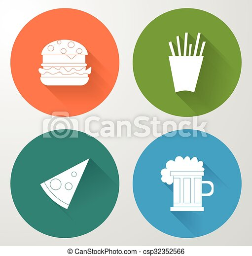 Set icons of fast food in flat style. - csp32352566