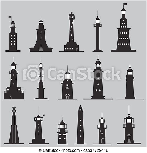 Set Icons of Lighthouses - csp37729416