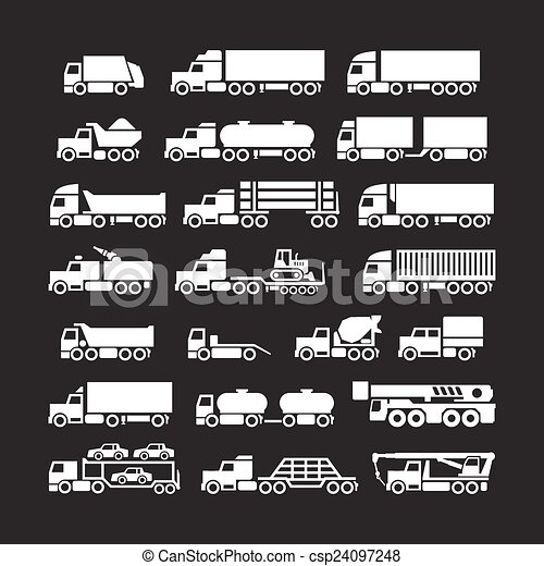 Set icons of trucks, trailers and vehicles - csp24097248