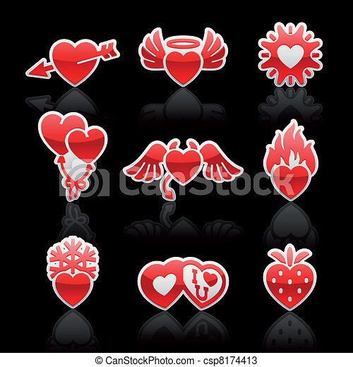 set icons of Valentine's day red hearts - csp8174413
