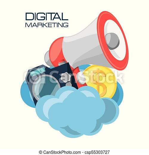 set icons related with digital marketing - csp55303727
