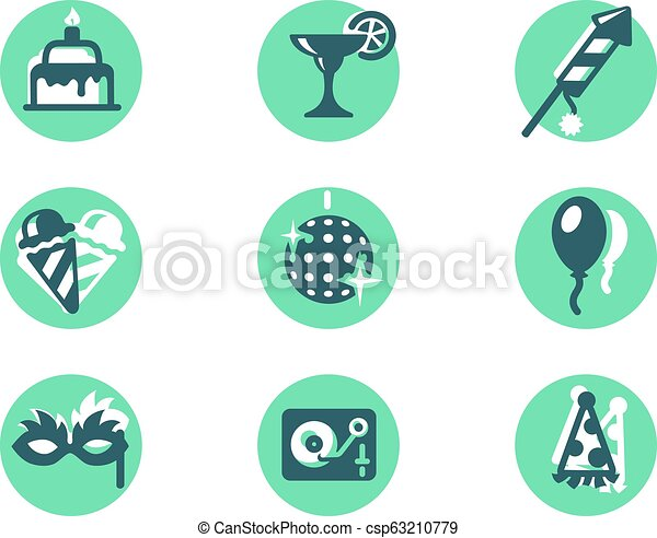 Set icons with ice cream, balloon, masquerade mask, cake, fireworks, alcoholic cocktail. - csp63210779