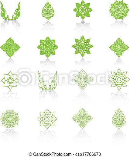 set, illustration., icone, tailandese, vettore, art linea - csp17766670