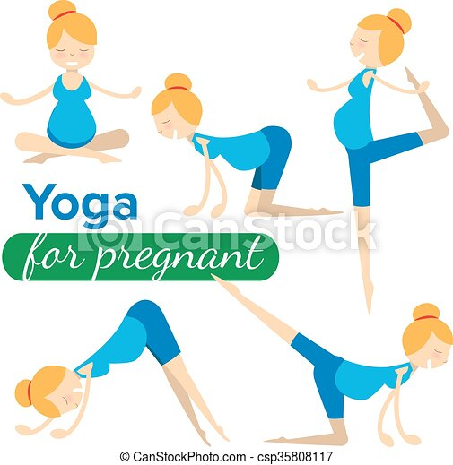 vector set illustrations of simple yoga poses for pregnant