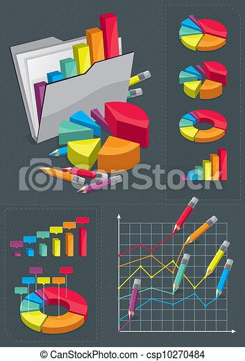 set, infographic, -, diagrammen, kleurrijke - csp10270484