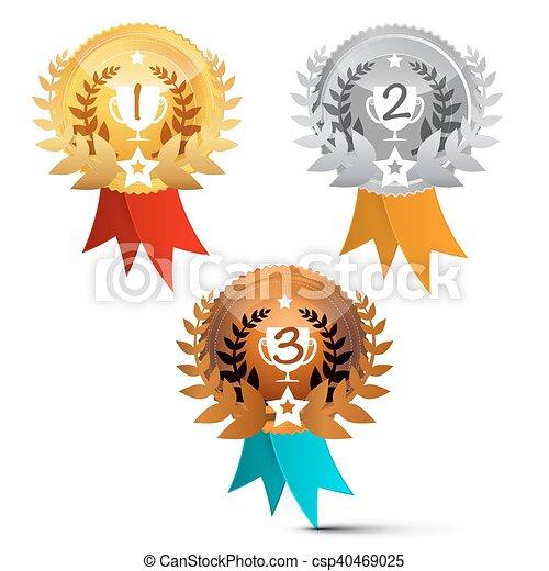 set., isolado, símbolos, experiência., vetorial, recompensas, branca, medalhas - csp40469025
