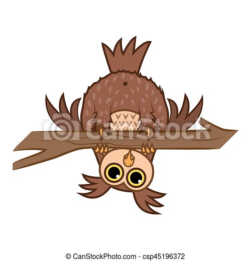 Set isolated Emoji character cartoon curious owl hanging upside down on a branch. Vector Illustrations - csp45196372