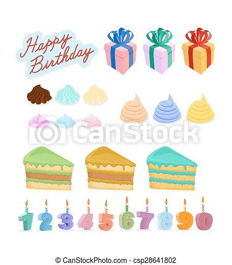 set, kaarsjes, birthday., vrolijke , taart, cijfers. - csp28641802