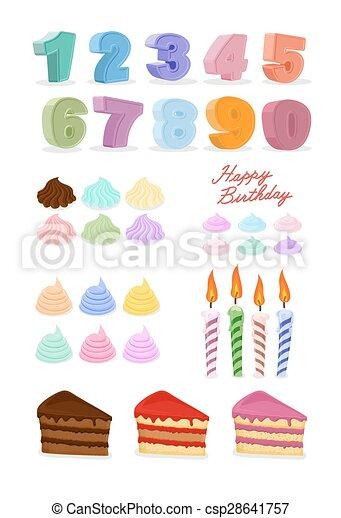 set., kaarsjes, jarig, vrolijke , taart, cijfers. - csp28641757