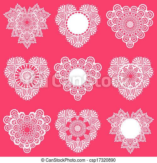set, kant, -, vector, ontwerp, hartjes, plakboek - csp17320890