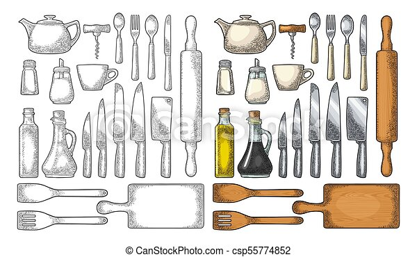 Set Kitchen Utensils. Vector Vintage Engraving