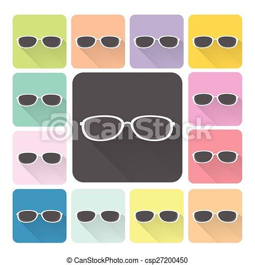 set, kleur, illustratie, vector, bril, pictogram - csp27200450