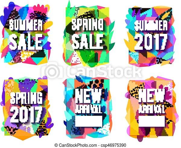 set, kleurrijke, abstract, verkoop, achtergrond, banieren - csp46975390
