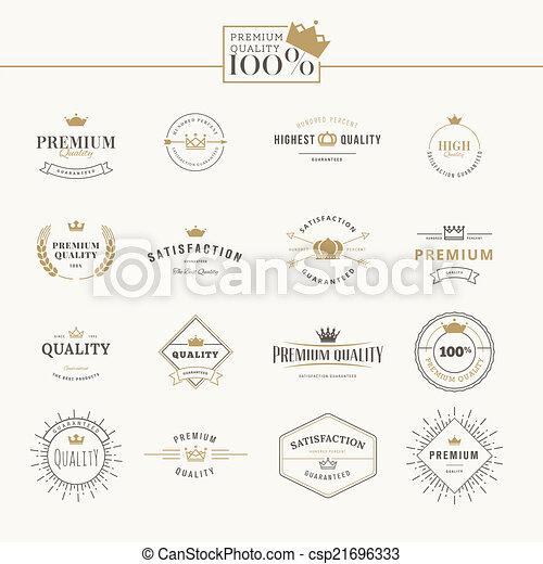 set, kwaliteit, premie, etiketten - csp21696333