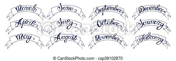 Set Labels With Hand Drawn Lettering Months Names Of Year Black On