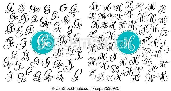 Set Letter G And H Hand Drawn Vector Calligraphy Script Font Isolated Letters Written With Ink Handwritten Brush Style Lettering For Logos