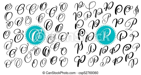 Set Letter O P Hand Drawn Vector Flourish Calligraphy Script Font Isolated Letters Written With Ink Handwritten Brush Style Lettering For Logos