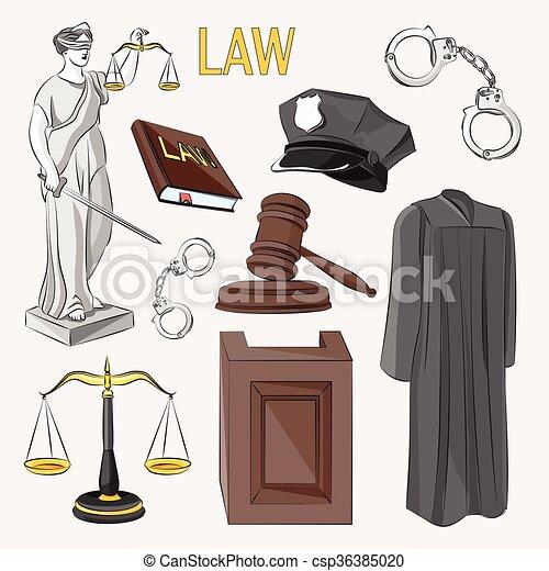 iconos de la ley establecidos. - csp36385020