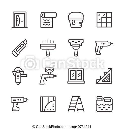 Set line icons of repair - csp40734241