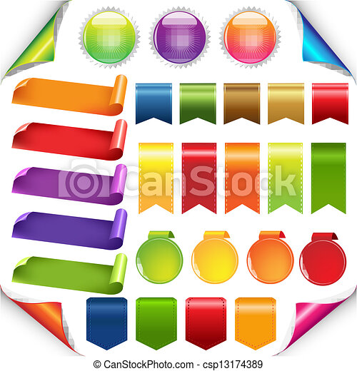 set, linten, kleurrijke, etiket - csp13174389