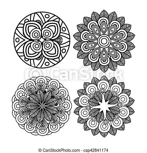Set Mandala Art Decorative Icon Vector Illustration Design