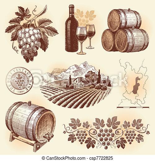 set, -, mano, vettore, disegnato, winemaking, vino - csp7722825