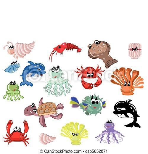 Set mare animali mare clip art vettoriale cerca for Mare clipart