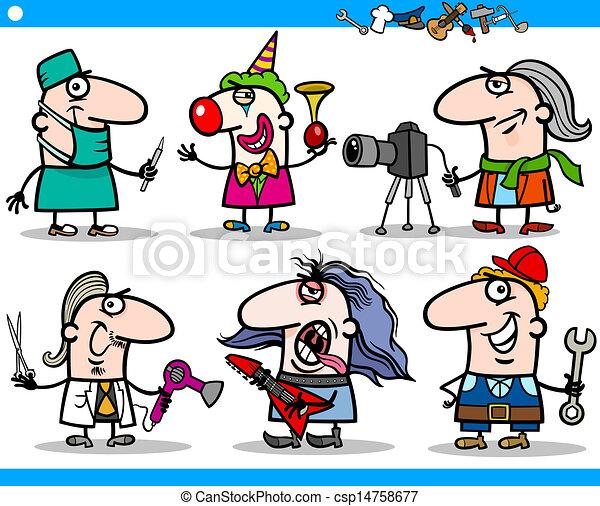 set, mensen, spotprent, karakters, beroepen - csp14758677