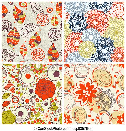 set, model, seamless, floral, kleuren, modieus - csp8357644