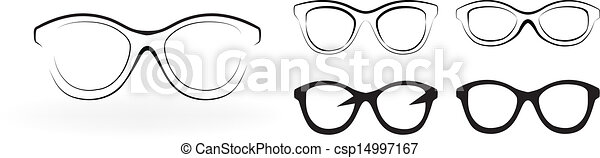 set, moderne, bril, vrijstaand, illustratie, vector, achtergrond, witte  - csp14997167
