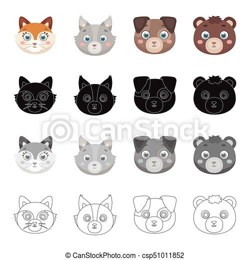 Set monocromatico muso stile icone nero animale casato